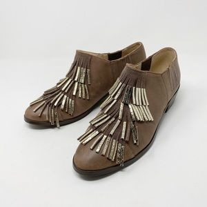 ANTHROPOLOGIE Zanita Booties 9 Leather Fringe Boho